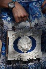 SOLD!551 Lion White Architect 3D Chunky Bintage Style Embellished Handbag Crossbody Purse