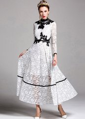 2117 2 Colors Lace Elegant Gown Mid Cuff Dress
