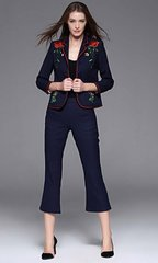 1660  2 Colors Designer Inspired Embroidery Crop Pants Twinset Suit