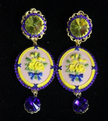 2266 Hand Painted Yellow Flower Camep Blue Crystal Studs Earrinhs