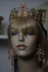 SOLD! 139 SET Baroque Red Rhinestone Gold Filigree Cross Crown Headband Tiara