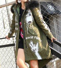 1455 Grunge New- Yorker Winter Graffiti Fur Outwear