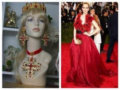 SOLD! 1464 Alta Moda 2016 Baroque Massive Filigree Cross Red Crystal Studs