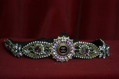 1596 Repurposed Chanel Button Crystal Forehead Headband