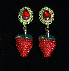 2443 Baroque Massive Red Crystal Strawberry Studs Earrings