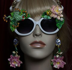 SOLD! 1949 Hand Painted Lily Leaf Ladybug Crystal Frog Sunglasses