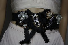 SOLD! 1882 Baroque Designer Inspired Bow Crystal Brooches Waist Belt