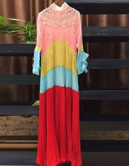 1818 Spring 2017 Designer Inspired Pastel Colorful Pleated Lace Maxi Free Shape Dress US2-US4