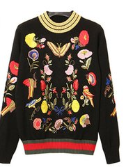 1444 Designer Inspired Embroidery Butterfly Flower 2 Colors Sweater