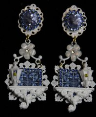 SOLD! 1938 Blue Porcelain Lamp Baroque White Architect Earrings