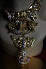 SOLD!Renaissance Bouguereau's L'amour Et Psyché Crystal Long Amazing Statement Necklace