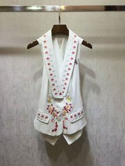 2465  2 Colors Designer Inspired Embroidery One Size Vest US4-US6
