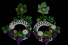 1977 White Filigree Grapes Bee Hand Painted Earrings
