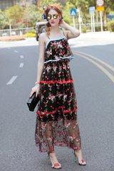 2375 Runway  Ruffled Sheer Embroidery Maxi Dress US2-US6