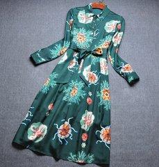 2037 Designer Inspired Deep Green Print Shirt Inspired Dress