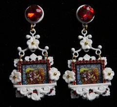 1935 Italian Print Knights White Balcony Red Crystal Studs Earrings