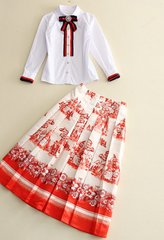 1794 Designer Inspired Bow Mid Cuff Skirt Plus Shirt