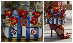 815  Double Bag Blue Striped Poppy Runway Embellished Purse Handbag Crossbody