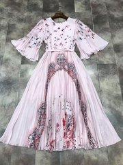 2169 Silk 100% Designer Inspired Pale Pink Bird Print Mid Cuff Dress US2- US4