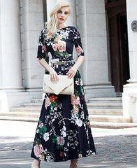 1771 Plus Sizes Designer Inspired Floral Print Mid Cuff Dress