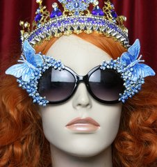 2134 Blue Pearlish Butterfly Flower Crystal Sunglasses