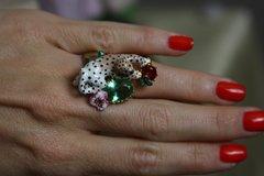 1240 Enamel Cheetah Crystal Ring Size 7