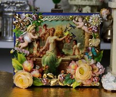 SOLD! 1869 Italian Renaissance Vivid Cherubs Flower Embellished One Of A Kind Sigar Box Crossbody Handbag