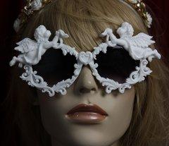 SOLD! 1842 Total BAroque White Architect Faced Cherubs Heart Sunglasses