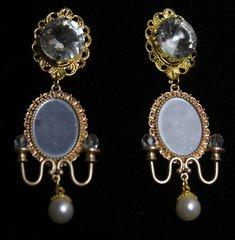 1583  Runway Baroque Mirrow Crystal Massive Pearl Earrings Studs