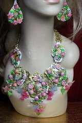 2350 Set Of Hand Painted Flower Cherub's Garden Stunning Necklace+ Earrings