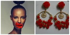 1129 Runway Red Rose Dangle Coin Earrings Studs