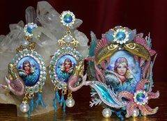 SOLD! 2058 Russian Mermaid Coral Seastar Massive Set Cuff + Earrings