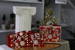 564  BELT Designer Inspired Runway AMORE Pearl Embellished RED Corset Waist Belt Size S, M