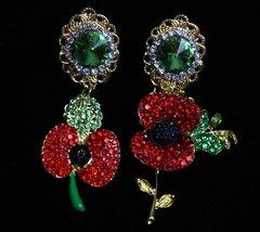 SOLD! 1918 Baroque Crystal Poppy Irregular Studs Earrings