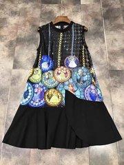 2061 Designer Inspired Cartton Print Fancy Black Dress