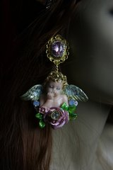 1907 Massive Cherub Baroque Pink Crystal Rose Earrings