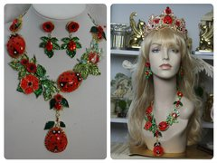 1409 Designer Inapired Baroque Ladybug Enamel Poppy Leaf Stunning Massive SET
