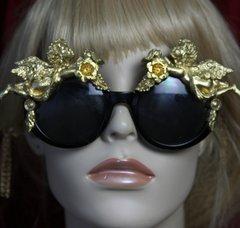 SOLD! 2035 Baroque Cherubs Flower Embellished Sunglasses