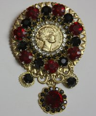 1687 Authentic Repurposed Chanel Button Crystal Huge Brooch
