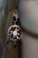 Sold! 1568 Fortune Wheel Crystal Red Dangle Earrings