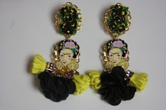 2412 Frida Kahlo Enamel Tassel Adorable Studs Earrings