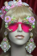SOLD! 2757 Total BAroque Stunning Hand Painted Roses Curves Pink Sunglasses