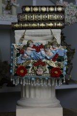 SOLD! 431 COLLECTIBLE Total Baroque 3D Effect Cherub's Cloud Pearl Fringe Rose Purse Handbag Clutch