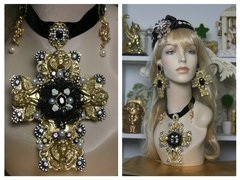 1497 Total BAroque Huge Cherub Black Lace Cross Choker