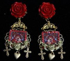 SOLD! 1981 Virgin Mary Heart Large Rose Earrings Studs