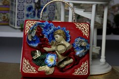 SOLD!  468  Art Nouveau One Of A Kind Fairy Hand Painted Sigar Box Trunk Handbag