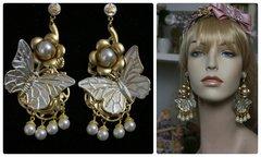 1219 Pearl Butterfly Massive Pearl Studs Earrings