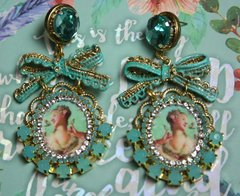 SOLD! 2049 Young Marie Antoinette Aqua Crystal Bow Studs