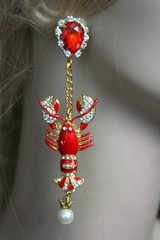 SOLD! 2271 Baroque Trendy Crystal Red Lobster Crystal Studs Earrings