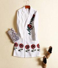 980 Drsigner Inspired Sunflower Embroidery Light Trench Jacket